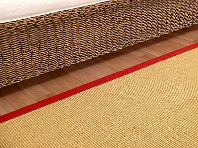 Sisal Astra Natur Teppich Honig Bordüre Rot online kaufen