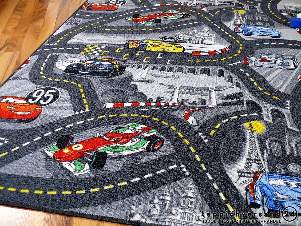 Kinder Cars Straßen Teppich grau 140x200 cm Disney/'s Cars