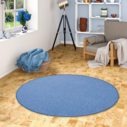 Feinschlingen Velour Teppich Strong Blau Rund online kaufen