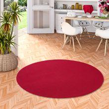 Feinschlingen Velour Teppich Strong Rot Rund online kaufen
