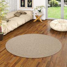 Feinschlingen Velour Teppich Strong Nougat Rund online kaufen