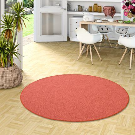 Feinschlingen Velour Teppich Strong Terrakotta Rund online kaufen