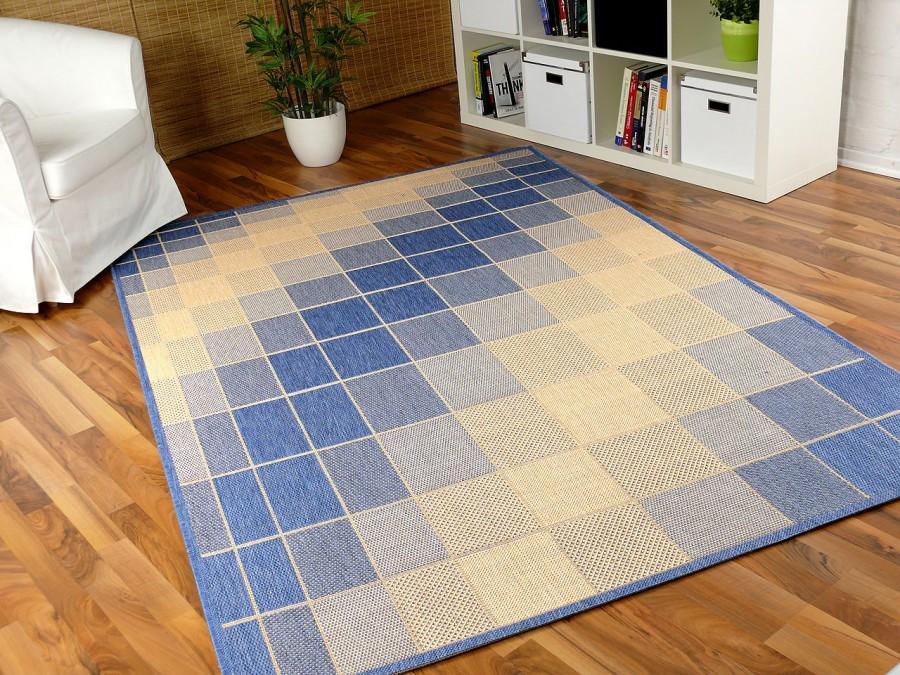 teppich flachgewebe ruggy blau beige teppiche sisal und naturteppiche designer flachgewebe. Black Bedroom Furniture Sets. Home Design Ideas