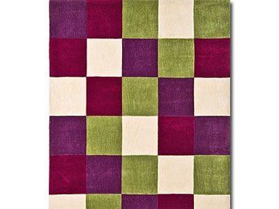 Handtuft Designerteppich Kumino Bunt Karo online kaufen