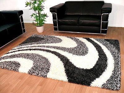 Hochflor Shaggy Designerteppich Lounge Grau Weiss Wellen online kaufen