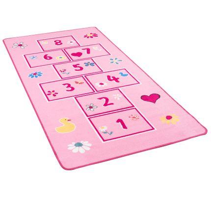 Lernen und Spielen Kinderteppich Hüpfkästchen Rosa Bunt online kaufen