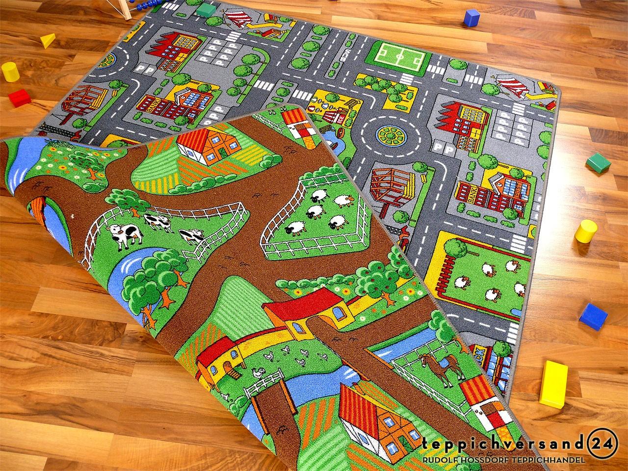 stra enteppich beidseitig mit zwei stra enlandschaften teppiche kinder und spielteppiche. Black Bedroom Furniture Sets. Home Design Ideas