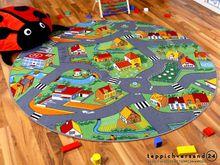 Kinder Spiel Teppich Little Village Grün Rund in 7 Größen online kaufen
