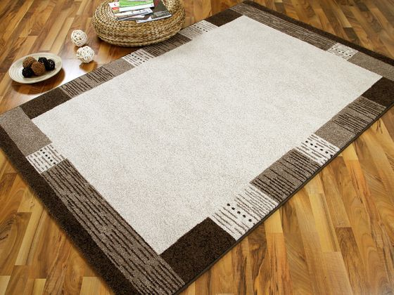 Designer Teppich Arizona Bordüre Beige