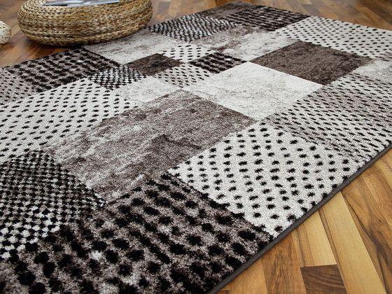 Designer Teppich Arizona Patchwork Braun  online kaufen