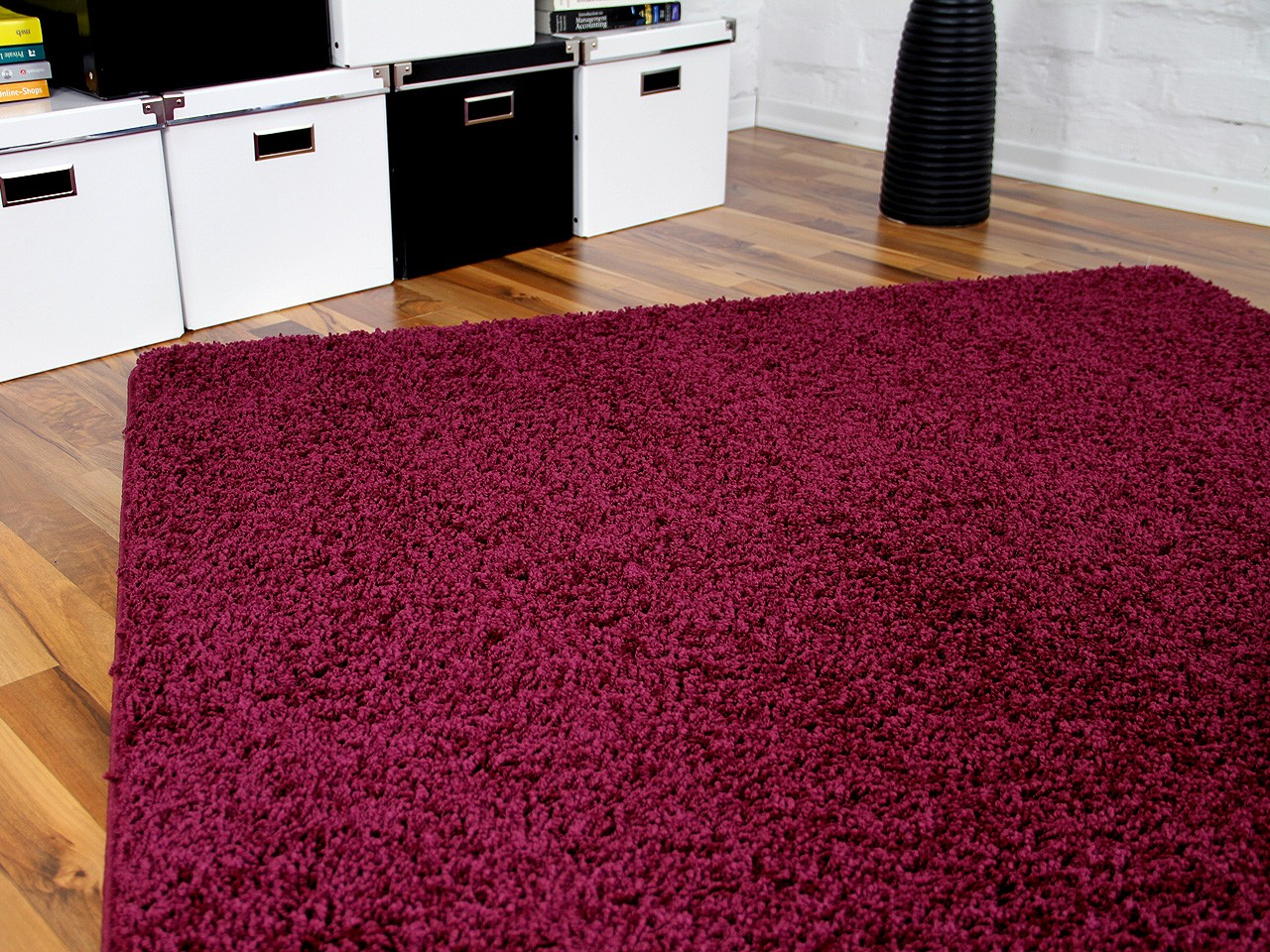 teppich hochflor shaggy premio burgund in 24 gr en ebay. Black Bedroom Furniture Sets. Home Design Ideas