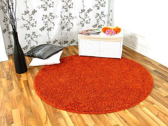 Hochflor Langflor Teppich Shaggy Nova Orange Rund in 7 Größen online kaufen