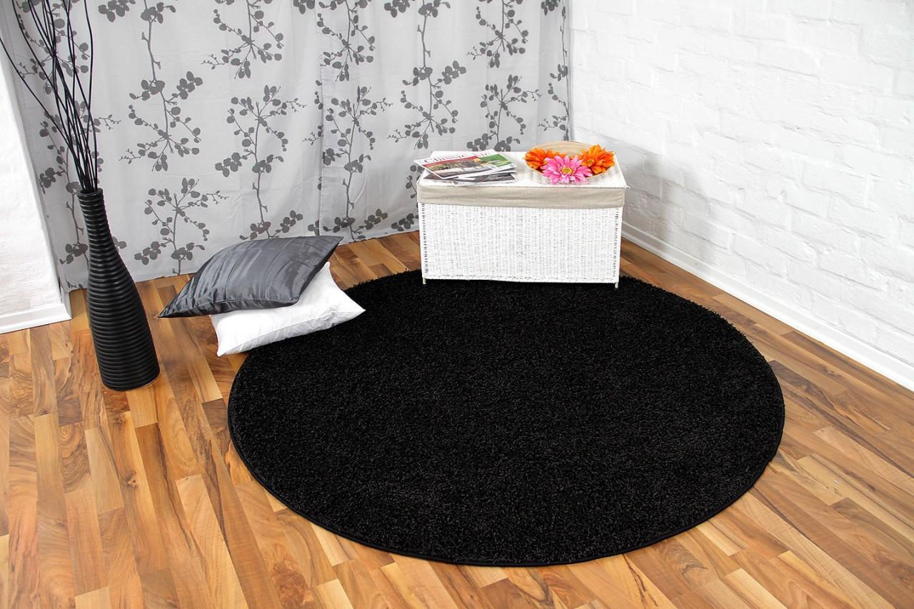 Hochflor langflor teppich shaggy nova schwarz rund in größen