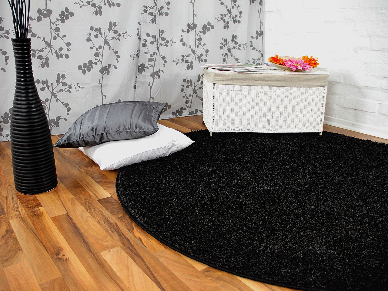 hochflor langflor teppich shaggy nova schwarz rund ebay. Black Bedroom Furniture Sets. Home Design Ideas