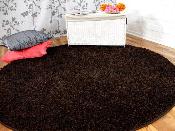 Hochflor Langflor Teppich Shaggy Nova Braun Rund  online kaufen