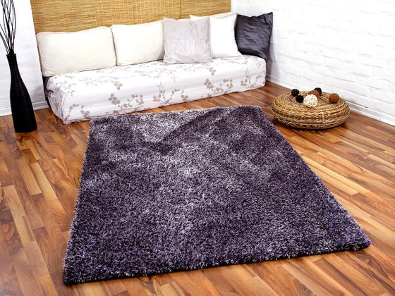 Hochflor Shaggy Teppich Luxus Feeling Mix Lila Silber