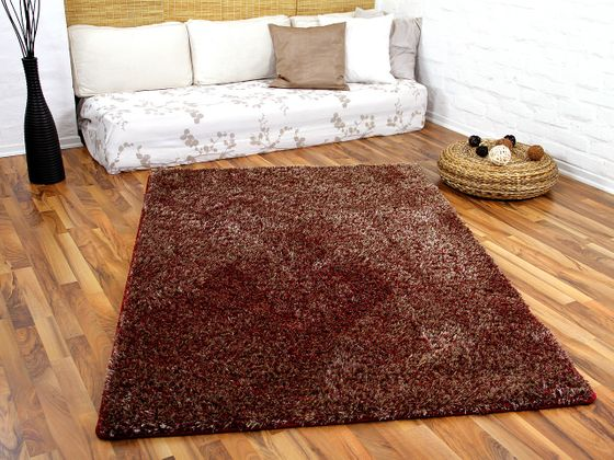 Hochflor Shaggy Teppich Luxus Feeling Mix Rot Gold