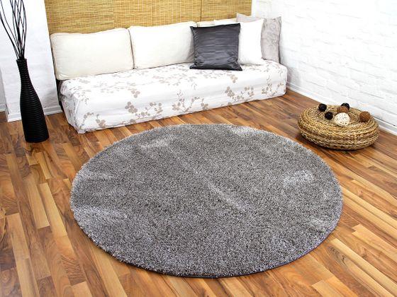 Hochflor Shaggy Teppich Luxus Feeling Mix Silber Rund in 7 Größen