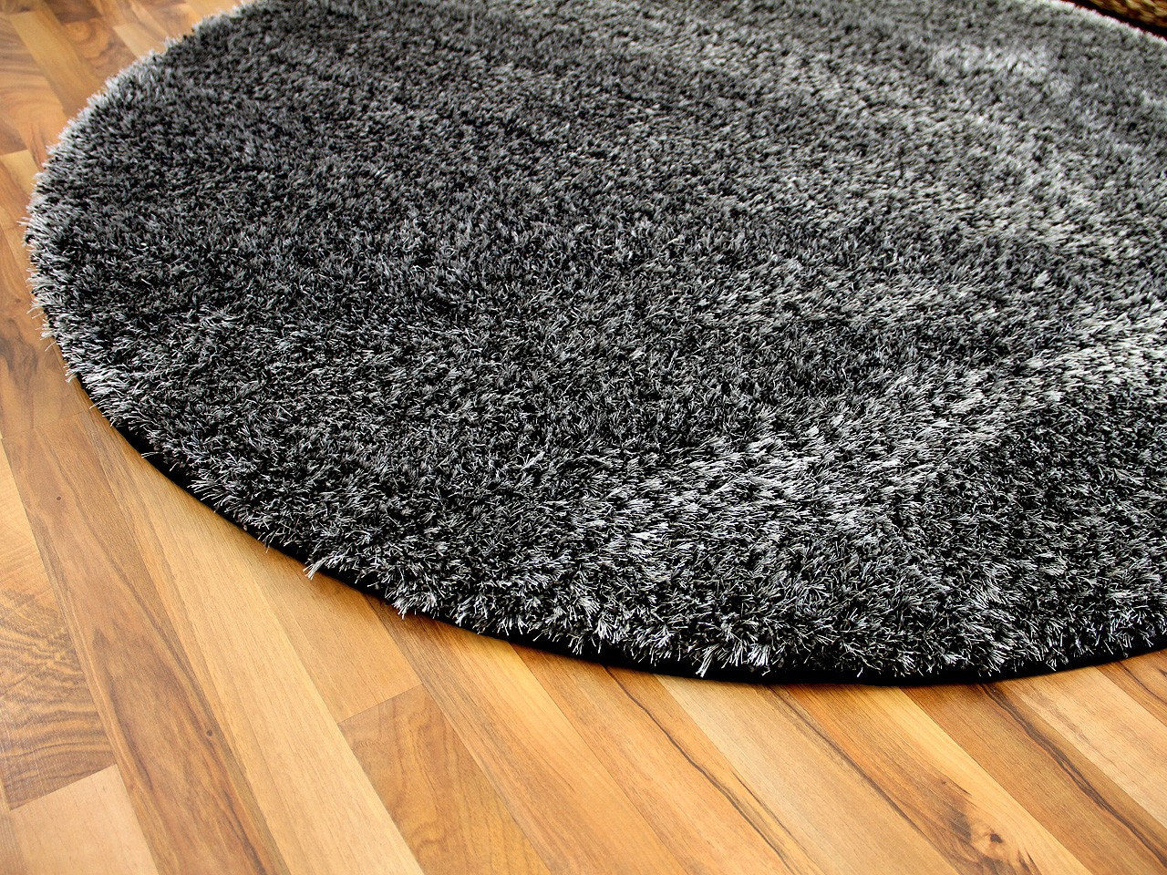 Hochflor Shaggy Teppich Luxus Feeling Mix Anthrazit Rund In 7 Grossen