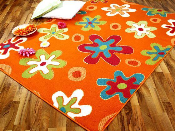Teppich Modern Trendline Orange Blumen - ABVERKAUF online kaufen