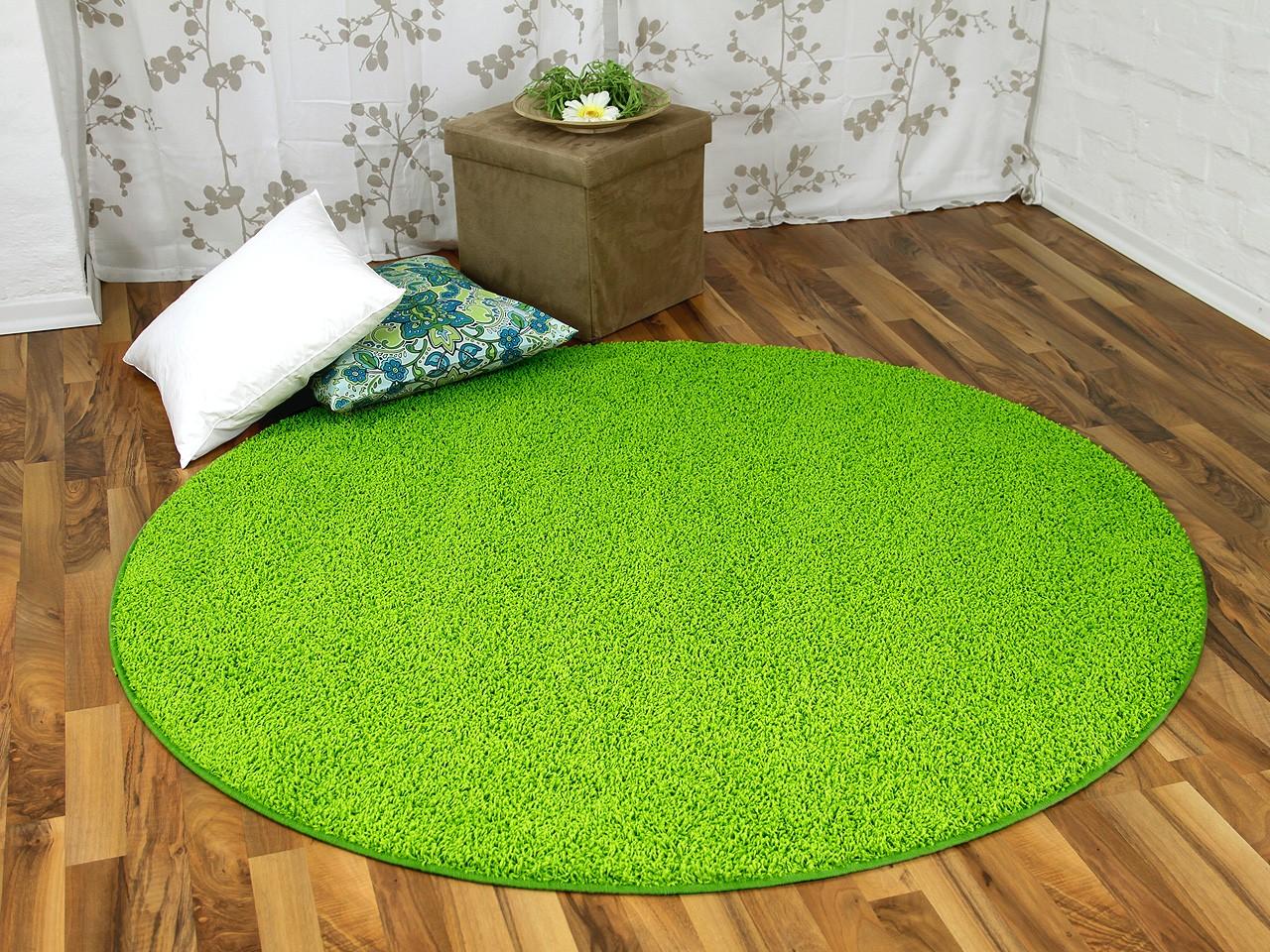 Hochflor Shaggy Teppich Prestige Lindgrün Rund in 16 Größen Teppiche ...