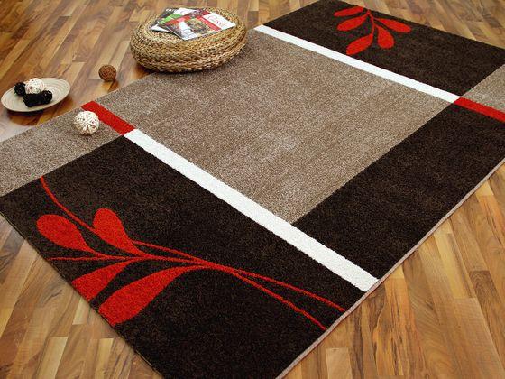 Designer Teppich Softstar Country Rot Braun Blumen online kaufen