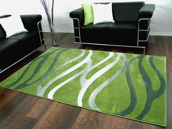 Designer Teppich Sevilla Grün Silber Wellen - ABVERKAUF online kaufen