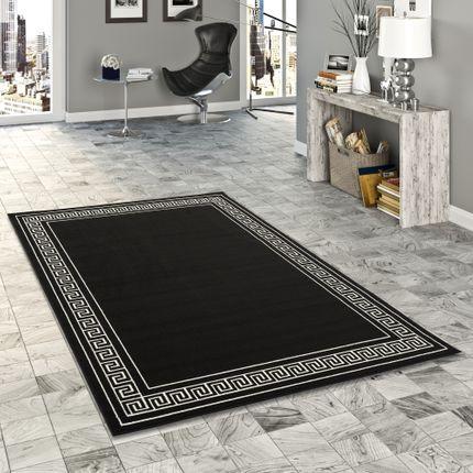 Teppich Trendline Schwarz Weiß Römische Bordüre