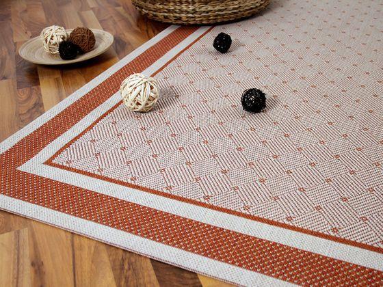 Modern Flachgewebe Ruggy Terrakotta Karo Bordüre online kaufen