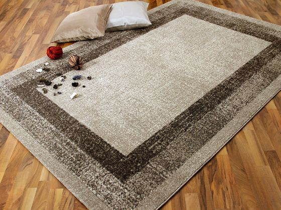 Designer Teppich Softstar Beige Bordüre online kaufen