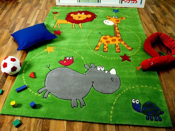 Lifestyle Kinderteppich Grün Zoo