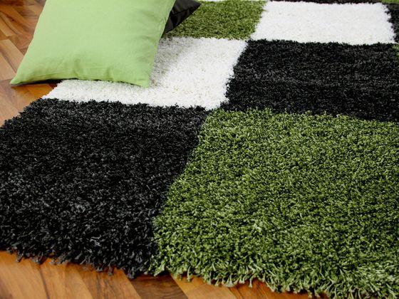 Hochflor Shaggy Designerteppich Lounge Grün Karo online kaufen