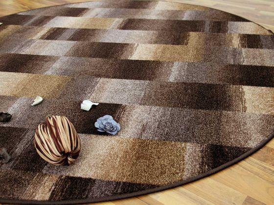 designer velour teppich mystic karo braun rund teppiche. Black Bedroom Furniture Sets. Home Design Ideas