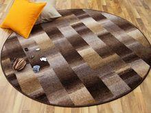 Designer Velour Teppich Mystic Karo Braun Rund online kaufen