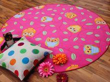 Kinder Spielteppich Eule Pink Rund in 7 Größen online kaufen