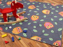 Kinder Spielteppich Eule Grau in 24 Größen online kaufen