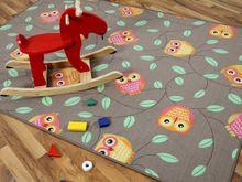 Kinder Spielteppich Eule Taupe in 24 Größen online kaufen
