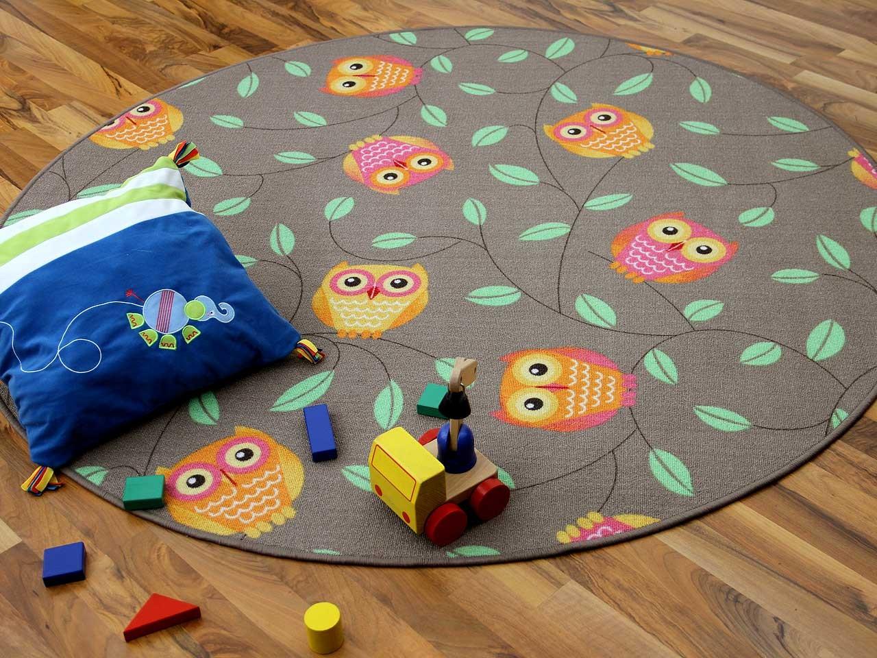 Kinder Spielteppich Eule Taupe Rund in 7 Größen