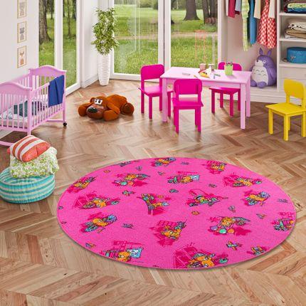 Kinder Spielteppich Bärenwelt Pink Rund in 7 Größen