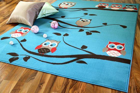Kinderteppich Trendline Eulen Türkis in 4 Größen