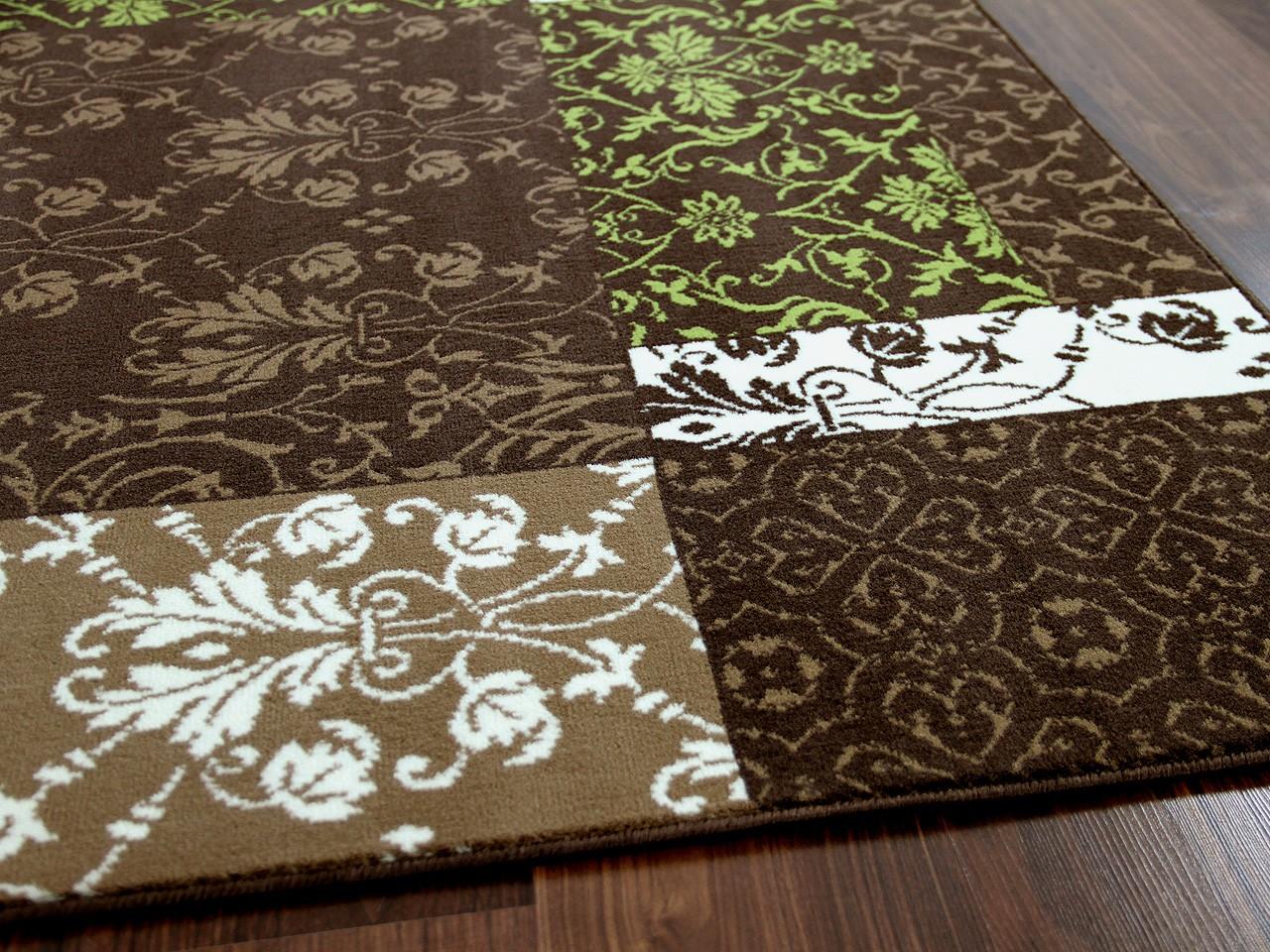 Designer teppich passion braun grün patchwork teppiche
