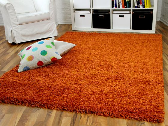hochflor langflor shaggy teppiche in orange rost und. Black Bedroom Furniture Sets. Home Design Ideas