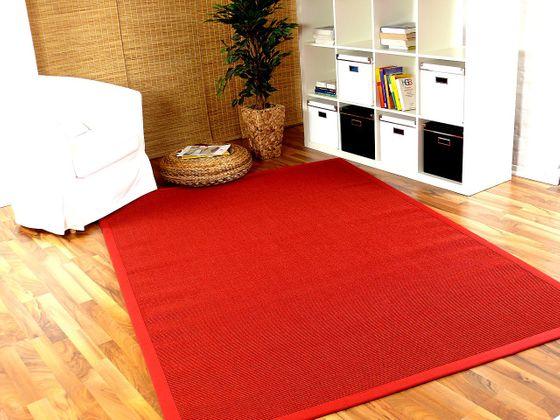 Sisal Astra Natur Teppich Rot Bordüre Rot