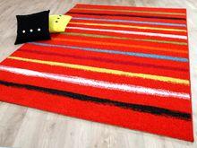 Designer Teppich Funky Streifen Rot Bunt online kaufen