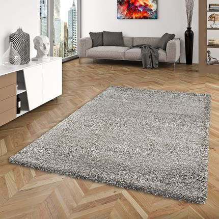 Hochflor Langflor Shaggy Teppich Luxury Taupe Mix