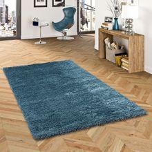 Hochflor Langflor Shaggy Teppich Luxury Ocean Blau online kaufen