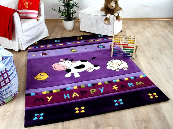 Lifestyle Kinderteppich My Happy Farm Lila Kuh  online kaufen