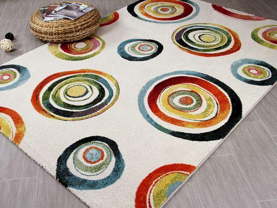 Designer Teppich Arizona Kreise Bunt - ABVERKAUF online kaufen
