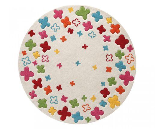 ESPRIT Kinderteppich Bloom Field Weiß Bunt Rund  online kaufen