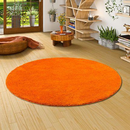 Hochflor Shaggy Teppich Palace Orange Rund online kaufen